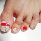 フットネイル(白+ピンク+赤+ゴールド)
